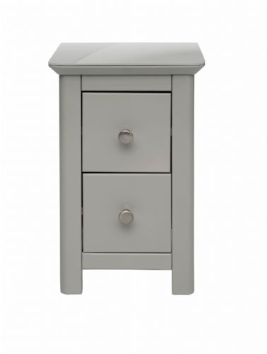 Elgin Grey and Glass 2 Drawer Petite Bedside